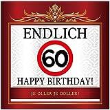 Aufkleber zum Geburtstag mit Text und Zahl - Endlich 60
