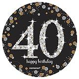 Amscan 110294 – Tischdekoration zum 40.Geburtstag – Fontäne, 33cm, goldfarben