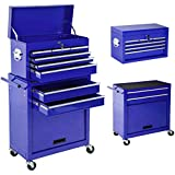 TecTake Chariot d'atelier servante à outils | bleu | tiroirs spacieux verrouillables | -diverses modèles- (Type 3 | no. 402651)