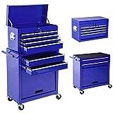 TecTake Chariot d'atelier servante à outils coffre malle rangement amovible | bleu