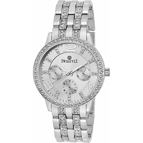 Swisstyle Analogue Silver Dial Women's Watch-SS-LR250-SLV-SLV