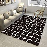 DAMENGXIANG Einfache Schwarz Weiß Abstrakte Teppich Wohnzimmer Couchtisch Schlafzimmer Rutschfeste Bodenmatte Wohnkultur Fuß Pad 40 × 60 cm
