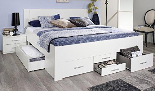 Rauch Schlafzimmer Komplettangebot Drehtürenschrank 6-türig, Schubkastenbett 140 x 200 cm, 1 Nachtkonsole alpinweiß
