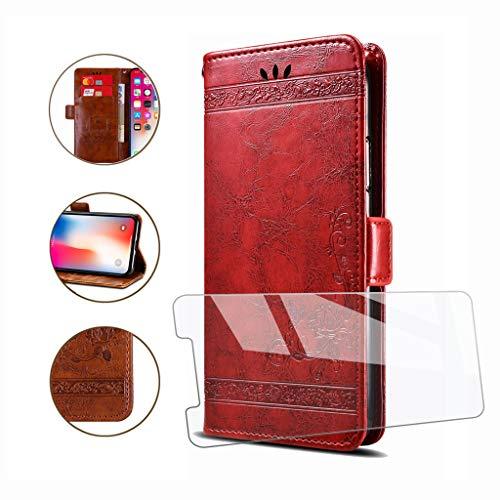 HYMY Hülle für UMIDIGI One Max - Retro Elegant + Schutzfolie PU Leder Flip mit Brieftasche Card Slot Handyhülle Case Lederhülle für UMIDIGI One Max (6.3