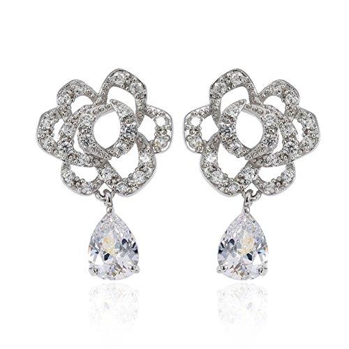 Zircone orecchini orecchio gioielli/ anallergico fashion gioielli/ fiore orecchino-A