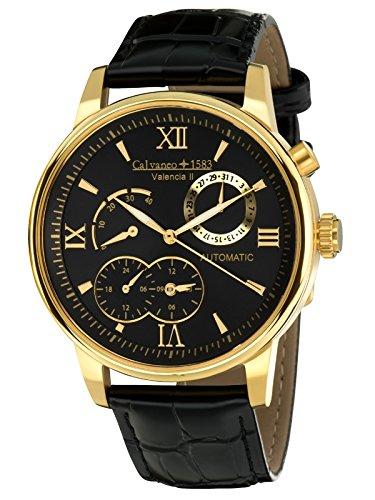 Calvaneo 1583 Herren-Armbanduhr Valencia II Gold Analog Automatik Leder schwarz 107934 (Fans Hochzeiten Programm Für)