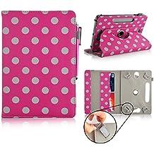 Casezilla Asus Memo Pad HD 7 Inch Tablet 360 Degrees Universal PU Leather Tablet Case - Pink Polka Dots, [Importado de UK]