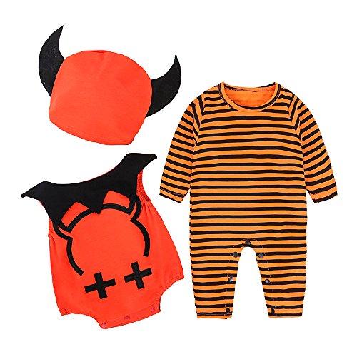 Kinder Halloween Performance Kostüm Baby Kürbis One Piece + Hat 3-teiliges Set Neugeborenes Baby Boy gestreiften Kürbis Romper Outfits Kostüm (Mumie Kostüm Boy)