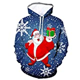 Weihnachten Hoodie Pärchen 3D Santa Claus Weihnachtsbaum Katze Drucken Kapuzenpullover Rot Blau...
