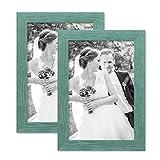 PHOTOLINI 2er Bilderrahmen-Set 20x30 cm Strandhaus Rustikal Blau Massivholz mit Glasscheibe inkl. Zubehör/Fotorahmen