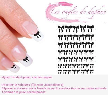 47 Stickers autocollant Noeuds noir Nail art