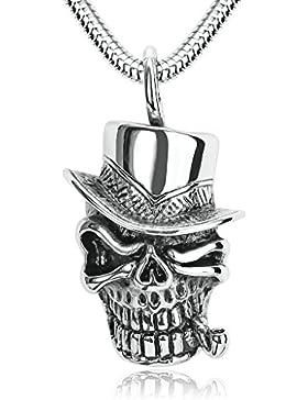 Bishiling Schmuck Edelstahl Anhänger Halskette für Herren Silber Schwarz Rauchen Totenkopf mit Hat Kette, 4x2.3CM