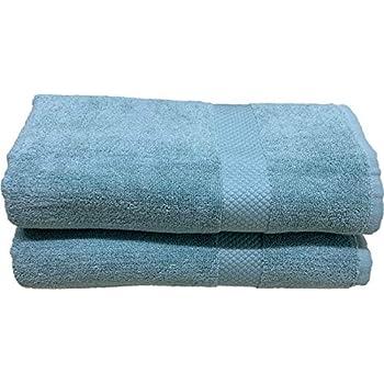 Trella 100% Cotton 2 Piece 500 GSM Large Cotton Bath Towel Set :: 140 x 70 cm (Light Blue)