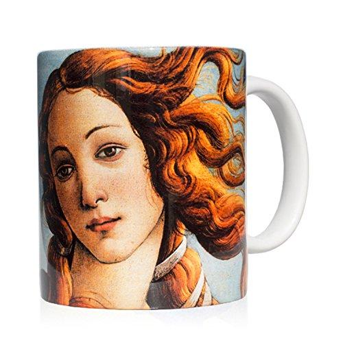 Tasse Mug petit-déjeuner en céramique blanche 32 cl. avec œuvre d'art imprimée La Naissance de Vénus, auteur Botticelli