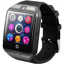 WOTUMEO Montre Bluetooth Smart Watch Phone Q18 soutien SIM TF Card Caméra Pédomètre Anti-lost Message Sync HD De Tactile Montres Connectées pour Smartphone Android Bluetooth Connectivité iPhone (Noir)