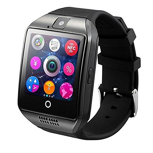 WOTUMEO Smartwatch Q18 Smart Uhr Telefon Bluetooth Uhr Unterstützung SIM TF Karte Kamera HD Touch Screen Armbanduhr APP für Android Smartphone Bluetooth Connectivity iPhone (Schwarz)