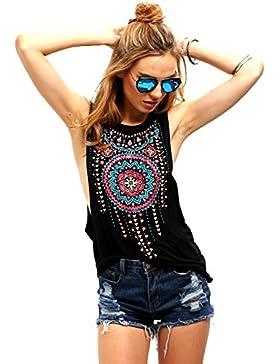 Minetom Camisetas para Mujer Verano Blusa Sin Mangas Cuello Redondo Impresión Tribal del Vintage Negro Chaleco...