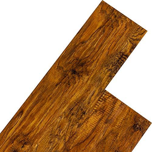 STILISTA Vinyl Laminat Dielen, 15 Dekors wählbar, 5,07m² oder 20m², rutschfest, wasserfest, schwer entflammbar - 20m² Walnuss rustikal rotbraun - Walnuss-holz-bodenbelag