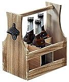 SIDCO ® Flaschenträger mit Flaschenöffner Holz Flaschenhalter Bierträger Flaschenkorb - 2
