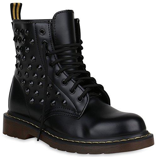 Damen Schuhe Worker Boots Stiefeletten Outdoor Profilsohle Nieten 148273 Schwarz Nieten 37 Flandell