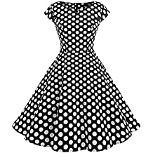 Wedtrend Robe Rétro Vintage Pin-up Style Robe Rockabilly Swing, Robe de Bal à Manches Courtes