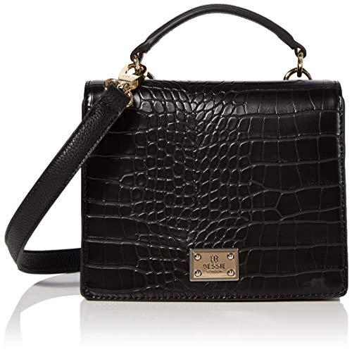 Bessie London Damen Handle Croc Flap Top Henkeltasche, Schwarz (Black), 11x14x19 Centimeters