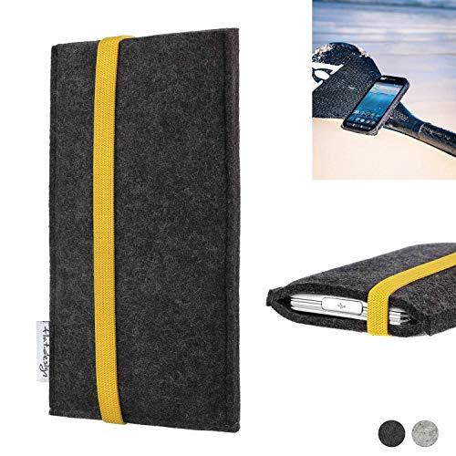 flat.design Handy Hülle Coimbra für Caterpillar Cat S41 passgenau Handytasche Filz Tasche fair schwarz gelb