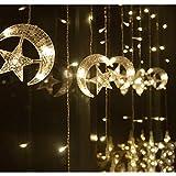 ODJOY-FAN-GUIDATO Stella Luci per Tende, Tenda della Finestra String Light Moon Star luci all'aperto Corda del Giardino Patio Decorative Corda, Natale terrazzo