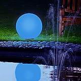 Kugelleuchte 50 cm Ø mit LED RGB Farbwechsel | weiße Gartenlampe, Außenleuchte, schöne Deko für Innen & Außen, Gartenbeleuchtung, Gartenkugel - 230 V, Kugellampe mit IP45, 180 cm Kabel + Leuchtmittel