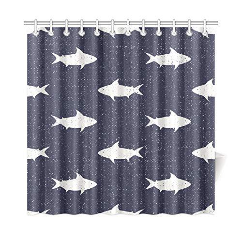 QIAOLII Wohnkultur Bad Vorhang Haie Nautische Nette Polyester Wasserdicht Duschvorhang Für Badezimmer, 72X72 Zoll Duschvorhang Haken Enthalten -