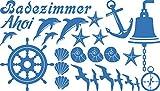 GRAZDesign 770077_57_053 Wandtattoo Badezimmer Ahoi Maritim mit Muscheln und Delfine | maritimes Set Bad-Tattoo für Fliesen - Wände - Tür (100x57cm//053 hellblau)