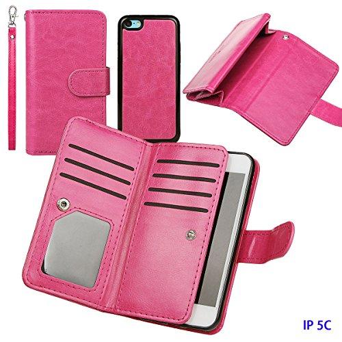 xhorizon TM FM8 Cuir Premium Folio étui [ la fonction de portefeuille] [magnétique détachable] Sac à main bracelet souple Carte Multiple couvrefente pour iPhone 5C Rose Rouge