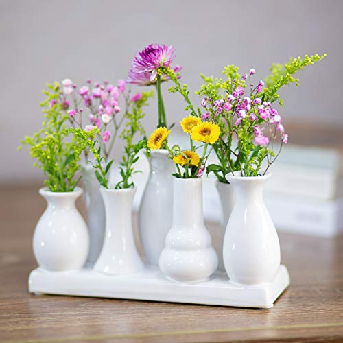 Keramikvasenset Blumenvase Keramikvasen bunt/weiß Vase Blumen Pflanzen Keramik Set Deko Dekoration (7 Vasen, weiß)