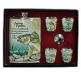 Taschenflasche Flachmann LN 35-13 Fisch 240 ml Teleskopbecher aus Edelstahl in Geschenkbox