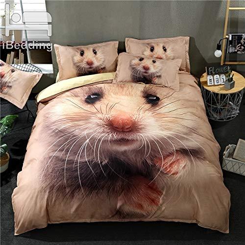 JSDJSUIT Bettwäsche-Set 3 Teile/Satz Nette Hamster Gedruckt Bettbezug Set 3D Bettwäsche-Sets Twin Voll Königin King Size, EU Einzel 2 stücke