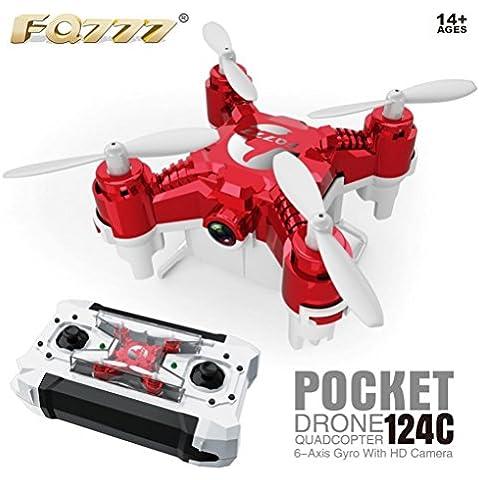 Fortan FQ777-124C Con 2.0MP 720P HD fotocamera Una chiave di ritorno RC Quadcopter rtf Mini Drone -- Rosso