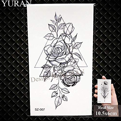 BRT Papier Flugzeug Temporären Tattoo-aufkleber Frau Körper Art Art Art Kunst Reed Branch Gefälschte Tattoo-blume Girl (2 Packungen) GSZ007