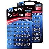 HyCell 60 x Knopfzellen-Sparset Alkaline/Je 10x LR621 LR736 LR626 LR1130 386A LR1154 / Ideal für Autoschlüssel TAN-Gerät Kinderspielzeug Uhren Fernbedienung etc.