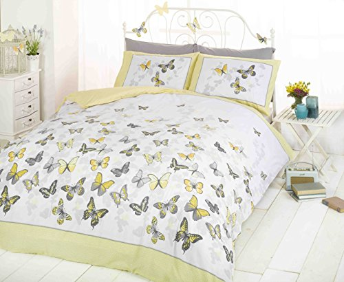 Art King Size Duvet Cover and 2 Pillowcase Bed Set, Polycotton, Yellow