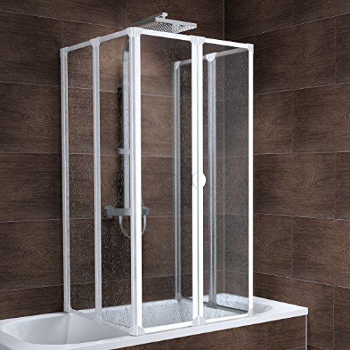 duschwand ecke Schulte Duschabtrennung München, 140 cm hoch, 2x3-teilig faltbar, Kunstglas Tropfen-Dekor, alpin-weiß, geschlossene Duschkabine für Badewanne
