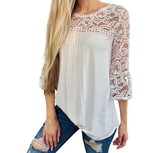 TIFIY Womens Casual Spitze Patchwork Flare Rüschen Kurzarm Sommer Cute Floral Shirt Lose Bluse Top (M, X_Weiß 3)