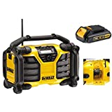 Dewalt DCR017 240v XR DAB FM Digital Cordless Job Site Radio 18v Li-Ion with Built in Charger Including DCB181 18v 1.3ah Li-ion Battery