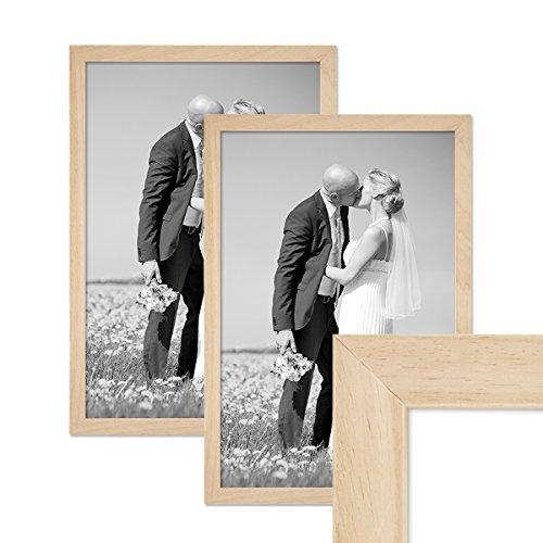 Kiefer-holz-rahmen (2er Set Bilderrahmen 30x40 cm Kiefer Natur Modern Massivholz-Rahmen mit Glasscheibe und Zubehör / Fotorahmen)