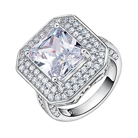 Orsa Jewels 6ct. Luxury Rhodium Plated Big Size Square Silver Ring With Princess Cut Large CZ Engagement Ring Jewelry For Women Size J½