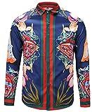 PIZOFF Herren Luxus Palace Still Fashion Hemden mit Pflanze Blumen Medusa Y1792-28-XXL