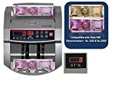 SToK New Rs.500 & Rs.2000 Notes Counting and detecting fake SToK ST-MC01 Cash / Bill / Currency/ Money / Note Counting Machine with Fake Note Detector & LED Display - 1 Year Warranty - Silver -(Compatible with New Currency - 500 & 2000 denomination)