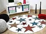 Maui Kinder und Jugend Teppich Creme Sterne Bunt Rund in 3 Größen