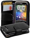 Cadorabo - Book Style Hülle für HTC WILDFIRE (NICHT für S-Version) - Case Cover Schutzhülle Etui Tasche mit Kartenfach in KAVIAR-SCHWARZ