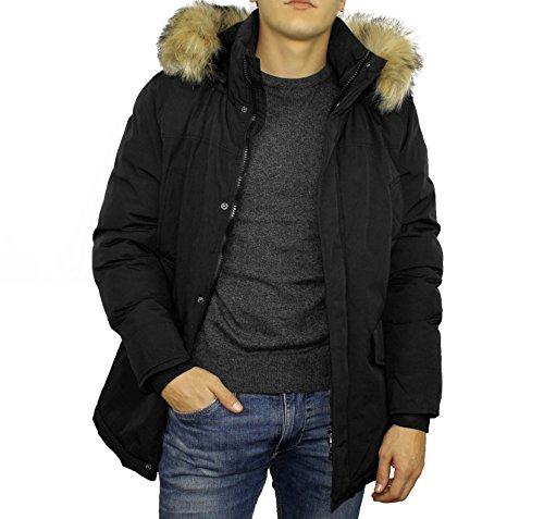 Doudoune / Parka / Veste Homme Hiver - Chaud et imperméable - Mi-longue - Capuche avec Fourrure Amovibles - Noire - XL