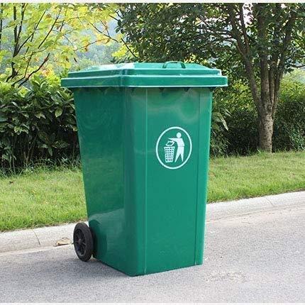 Cubos de basura al aire libre 240L grande del hierro al aire libre, ruedas papelera Papelera exterior...